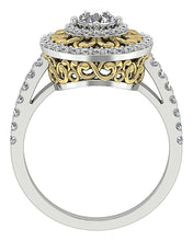 Load image into Gallery viewer, Front View Halo Solitaire Ring Two-Tone Gold-SR-927-7