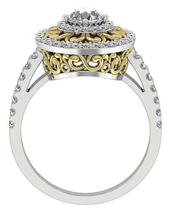 Front View Halo Solitaire Ring Two-Tone Gold-SR-927-7