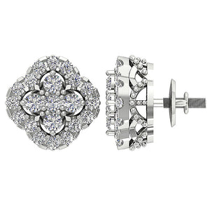 14k White Gold Natural Diamond Earring Set