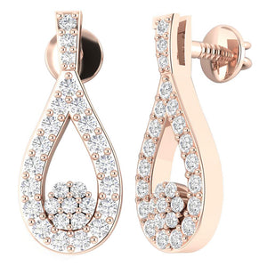 Round Diamond Unique Earring Set 14k Gold