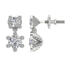 Load image into Gallery viewer, 14k White Gold Natural Diamond Earring Set
