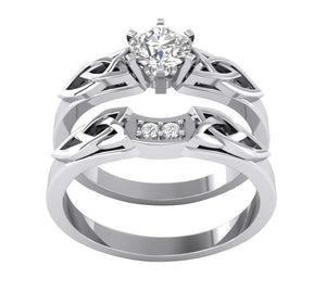 Top View Round Diamond Bridal Ring Set