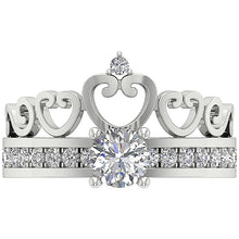 Load image into Gallery viewer, Top View Round Diamond Bridal Ring Set