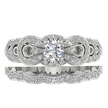 Load image into Gallery viewer, Top View Natural Diamond Bridal Ring Set