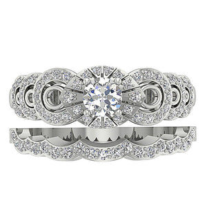 Top View Natural Diamond Bridal Ring Set