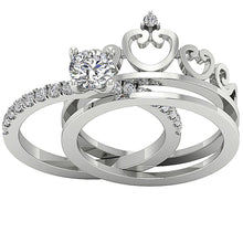 Load image into Gallery viewer, 14k White Gold Natural Diamond Ring Set