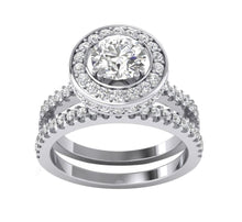 Load image into Gallery viewer, 14k White Gold Halo Bridal Anniversary Ring Set