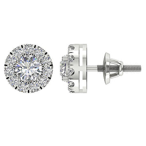 14k White Gold Earring Halo Solitaire Studs