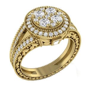 Halo Accent Solitaire Engagement Ring 14K Yellow Gold-SR-1089