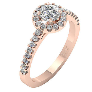 Halo Accent With Solitaire Natural Diamond Engagement Ring I1 G 0.70 Ct 14k Gold