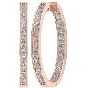 14k Rose Gold Inside Outside Earring Set