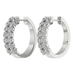 14k White Gold Large Hoop Earring Set