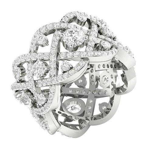 Designer Vintage White Gold Ring-DETR210