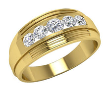 Load image into Gallery viewer, 14k Solid Gold Mens Anniversary Ring SI1/I1 G 1.10Ct Natural Diamond Channel Set Width 8.50MM