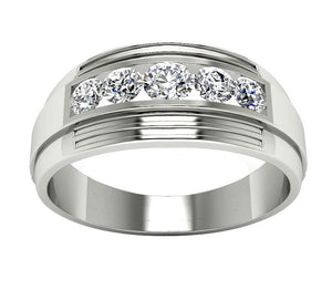 14k Solid Gold Mens Anniversary Ring SI1/I1 G 1.10Ct Natural Diamond Channel Set Width 8.50MM