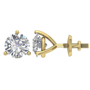 Solitaire Studs Earring Martini Prong Setting Yellow Gold DST95-1.50