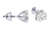 Load image into Gallery viewer, 14k/18k White Gold Round Cut Diamonds Solitaire Studs Earrings I1 G 0.65Ct Martini Prong Set 4.20MM