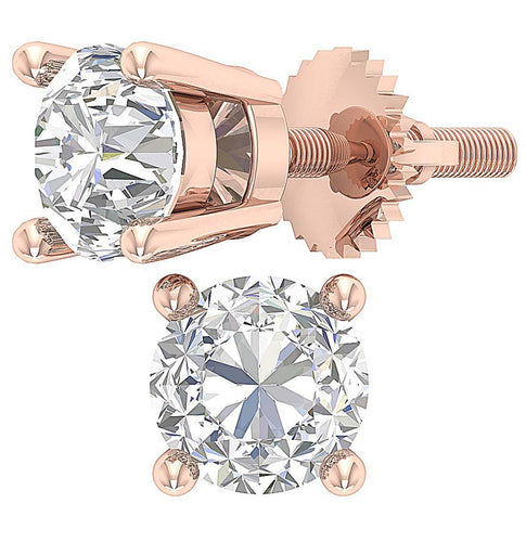 14k Rose Gold Genuine Diamond Earring Set