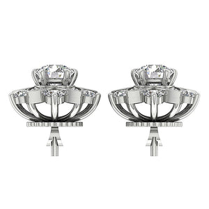 14k White Gold Round Diamond Earring Set