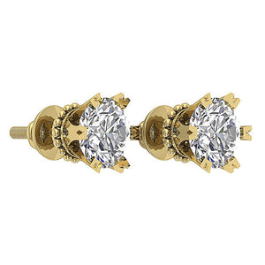 14k Yellow Gold Earring Set Round Diamond