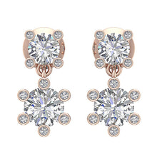 Load image into Gallery viewer, Genuine Diamond 14k Rose Gold Earring Set