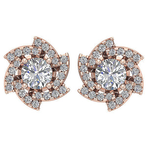 Round Diamond Earring Set 14k Rose Gold