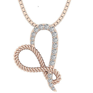 14k Solid Gold Genuine Diamond Pendant