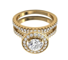 Load image into Gallery viewer, Top View Round Diamond Halo Bridal Ring Set