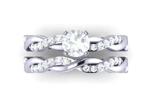 White Gold Top View Natural Diamond Bridal Ring