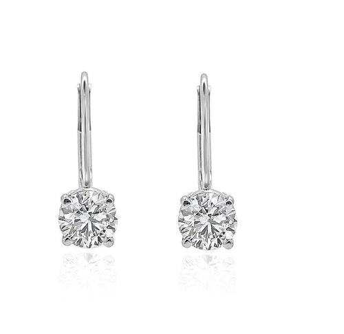 Lever Back Solitaire Studs Earrings 14k/18k White Gold Round Diamonds I1 G 0.90 Ct