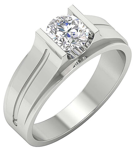 14k Solid Gold Mens Solitaire Wedding Ring I1 G 1.00Ct Round Diamonds Bar Set Width 7.50MM