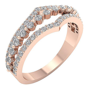 Natural Diamond Rose Gold Wedding Ring Split Shank