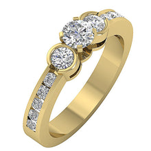 Load image into Gallery viewer, Designer Three Stone Anniversary Ring Round Diamond I1 G 1.40 Ct Prong & Bezel Set 14k Yellow Gold