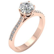 Load image into Gallery viewer, Natural Diamond Ring Six Prong Set 14k Rose Gold-DSR472
