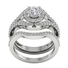 Load image into Gallery viewer, Designer Split Shank Halo Wedding Ring SI1 G 1.70 Carat Natural Diamond