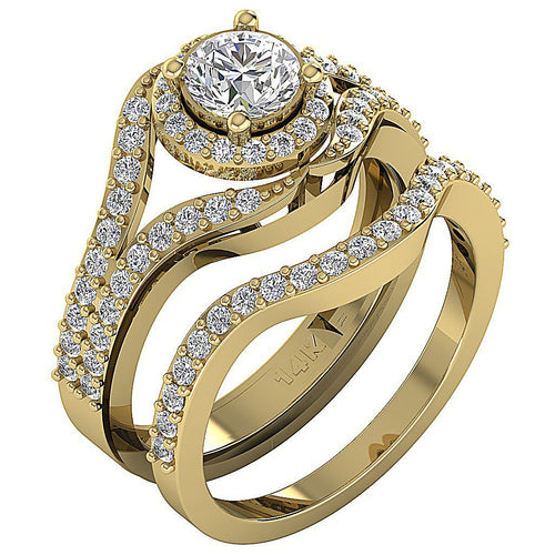 14k Yellow Gold Natural Diamond Wedding Ring-CR-189