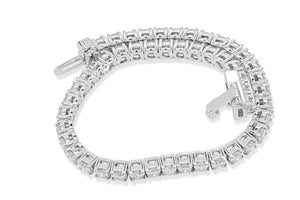 14k White Gold Prong Set Bracelet-B-28-12