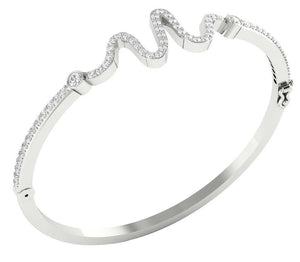 Cross View 14k White Gold Bangles-DBR20