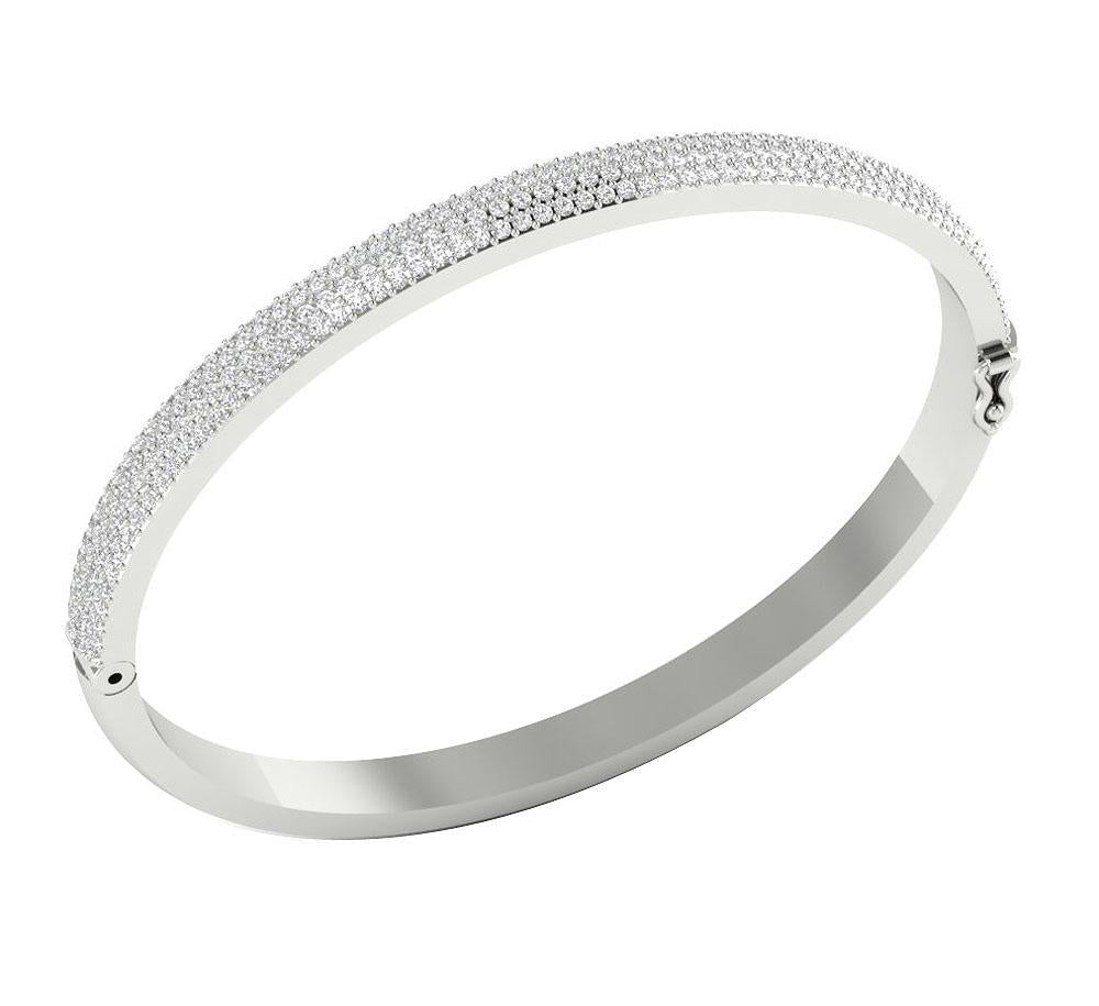 Diamond Bangles Round Diamonds SI1/I1 G 2.10Ct 14k White Yellow Rose Gold