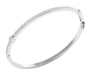 White Gold Cross View Bangles-DBR25