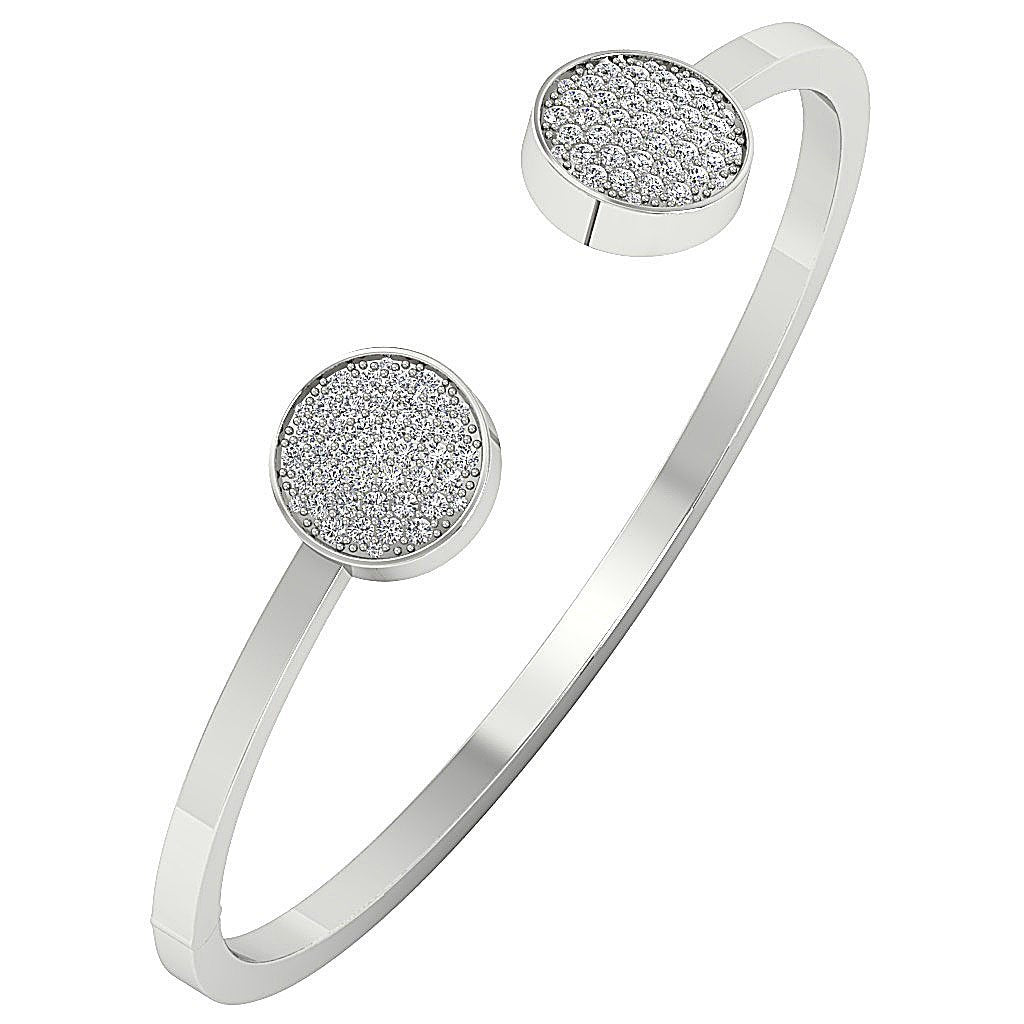 Diamond Bangles Natural Diamonds SI1/I1 G 1.00 Ct 14k White Yellow Rose Gold