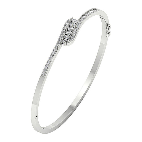 White Gold Prong Setting And Channel Setting Diamonds Bangles-DBR38