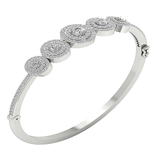 Diamond Bangles 14k White Yellow Rose Gold SI1/I1 G 3.50Ct Natural Diamonds