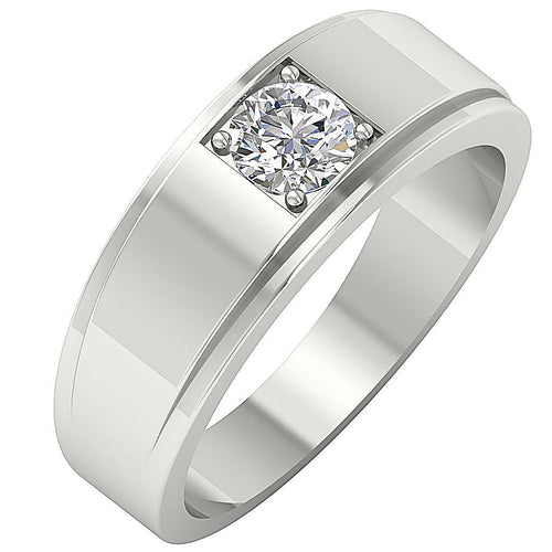 Mens Solitaire Wedding Ring 14k Solid Gold SI1/I1 G 0.50 Ct Round Diamond Prong Set Width 7.45MM