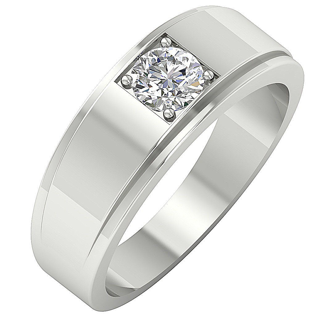 White Gold Solitaire Ring-DMR3
