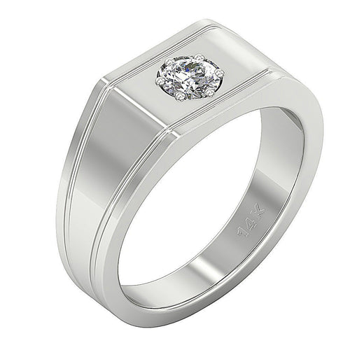 14k Solid Gold SI1/I1 G 0.30Ct Round Diamond Mens Solitaire Wedding Ring Prong Set Width 8.95MM