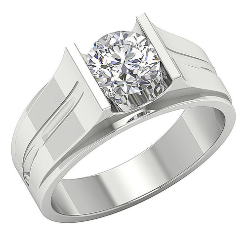 Mens Solitaire Anniversary Ring 14k Solid Gold I1 G 1.25Ct Round Diamonds Bar Set Width 9.00MM