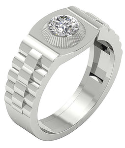 14k Solid Gold Mens Solitaire Wedding Ring SI1/I1 G 0.75Ct Round Diamond Bezel Set Width 11.40MM