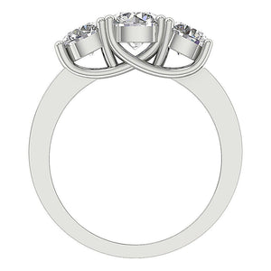14K Gold Genuine Diamond Ring Front View-TR-102-5