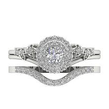 Load image into Gallery viewer, Top View Natural Round Cut Diamond Bridal Ring Set Low Price-DCR113-0.75CT
